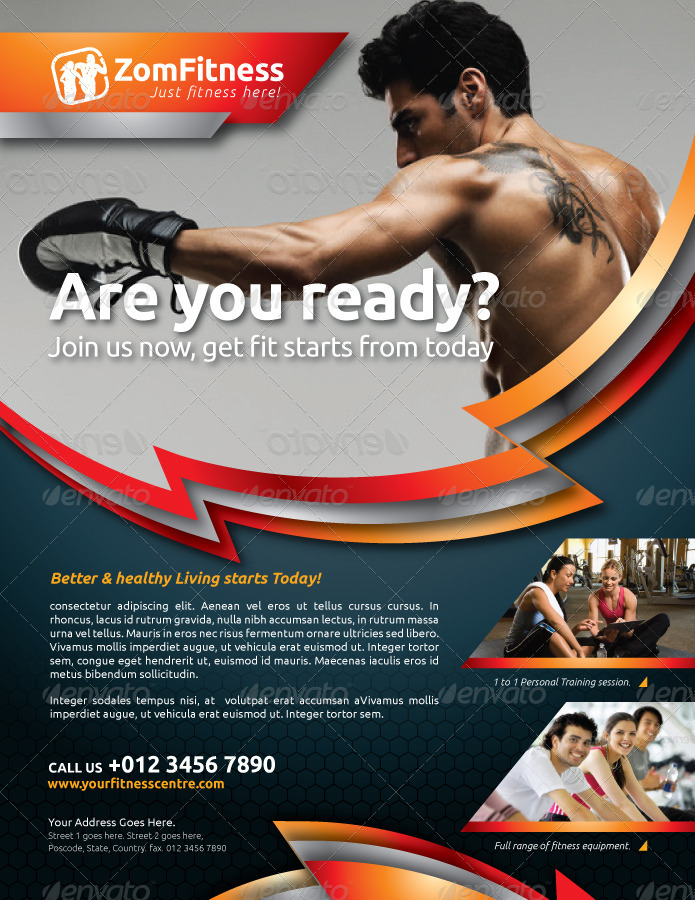 Fitness Flyer Vol6 by kitcreativestudio GraphicRiver - fitness flyer