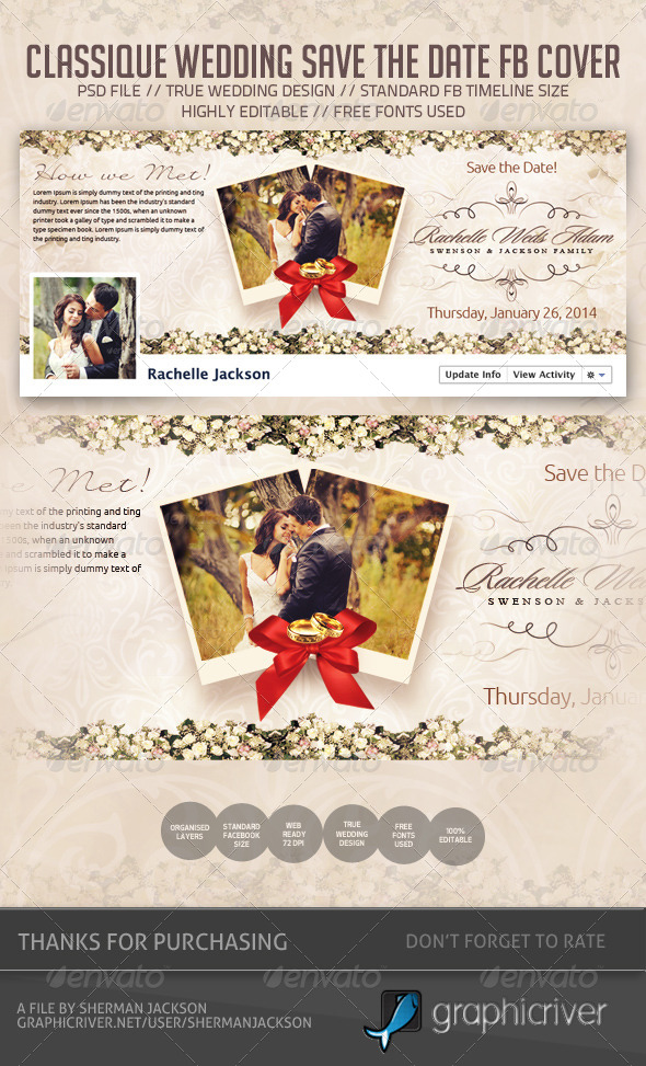 Wedding / Save the Date Facebook Cover by ShermanJackson GraphicRiver - free wedding save the dates