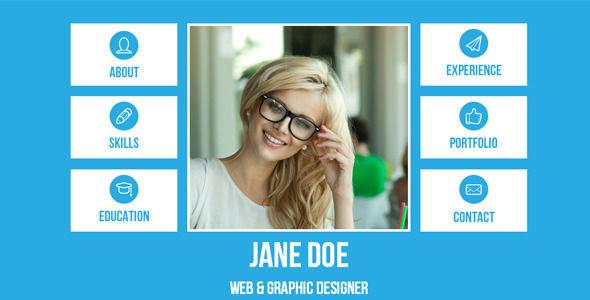 Resume - Single Page Adobe Muse Template by loveishkalsi ThemeForest - personal website resume
