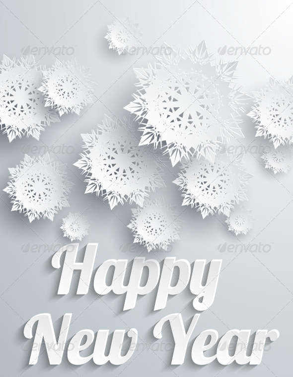 Happy New Year Background with Snowflakes by robuart GraphicRiver