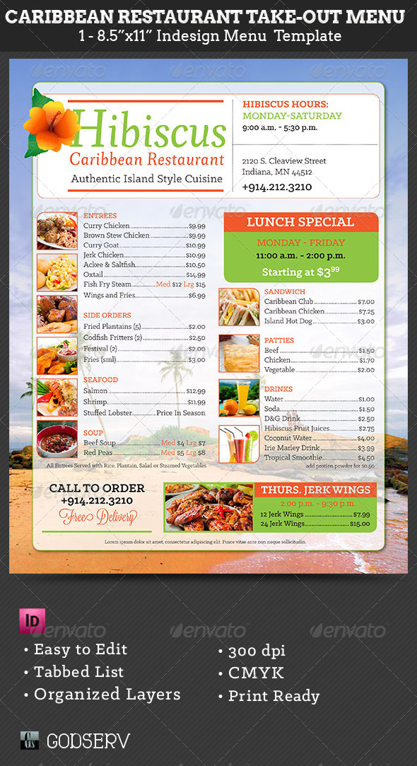 Caribbean Restaurant Take-Out Menu Template by Godserv GraphicRiver - food menu template
