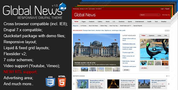 Global News Portal - Responsive Drupal Theme by Monkeysan ThemeForest