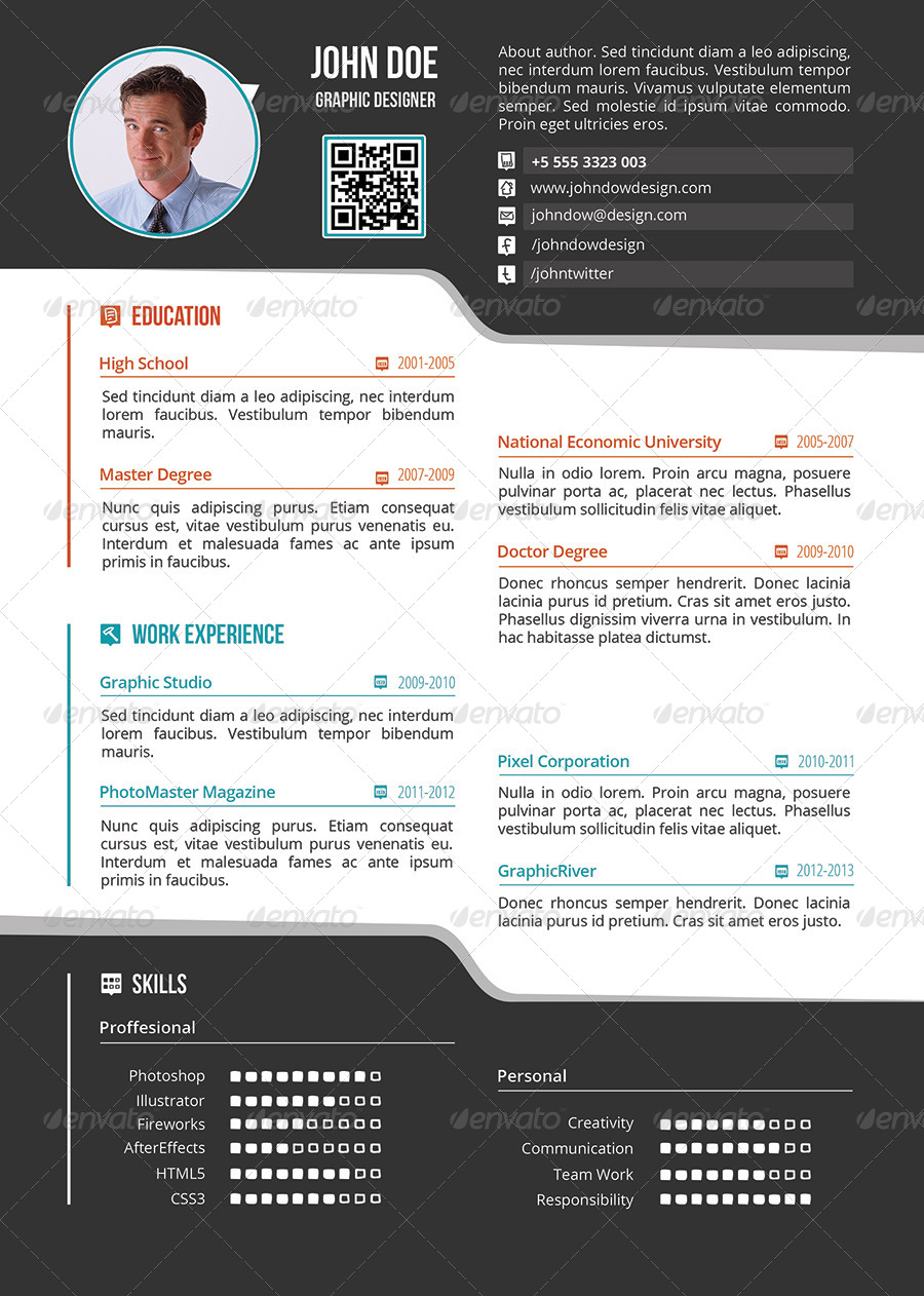 one page resume infographics