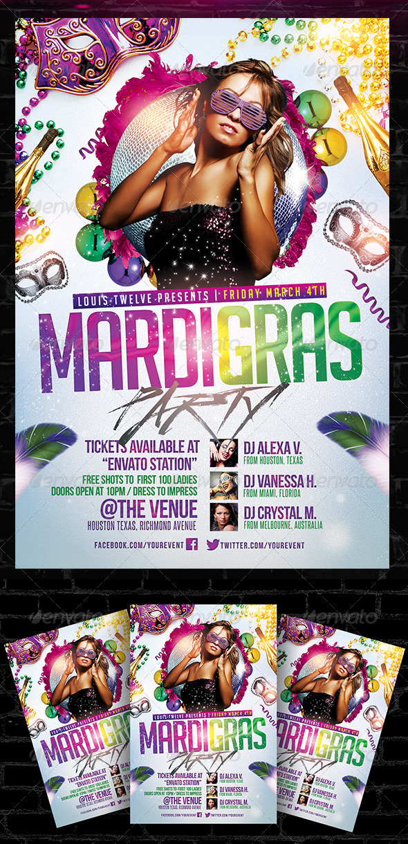 Mardi Gras / Carnival Party Flyer Template by LouisTwelve-Design