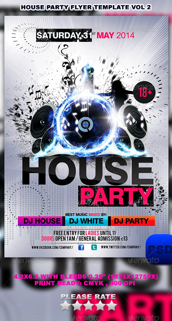 House Party Flyer Party - BLACK MUSIC - Bebel in Cottbus - 2712 - bounce house flyer template
