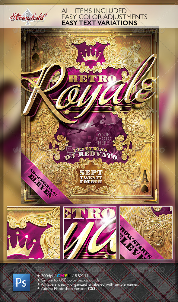 Retro Royal Club Flyer Template by getstronghold GraphicRiver - retro flyer template