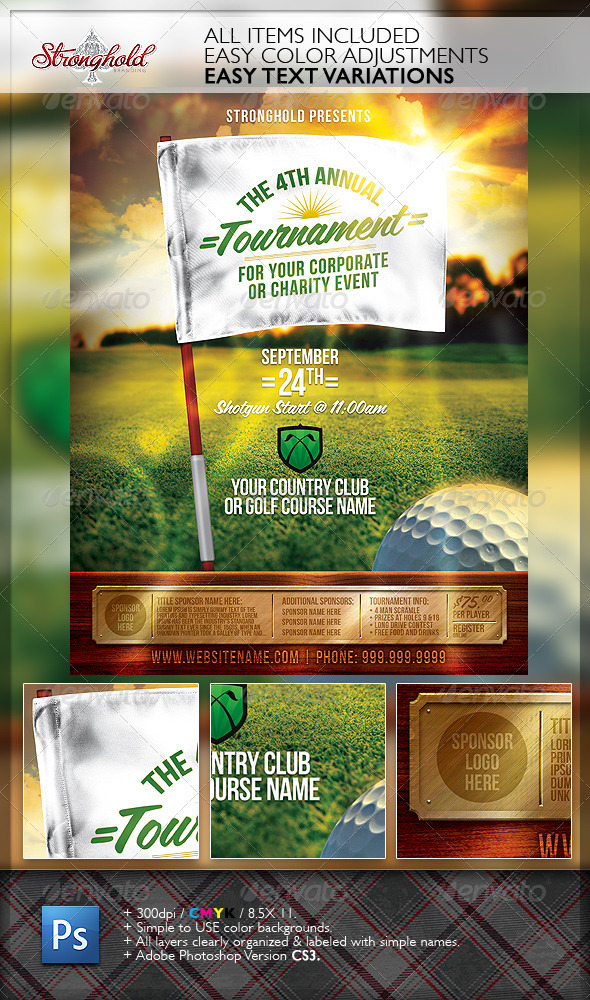 Golf Tournament Event Flyer Template by getstronghold GraphicRiver - golf tournament flyer template