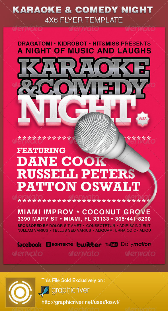Karaoke and Comedy Night Flyer Template by loswl GraphicRiver - comedy show flyer template