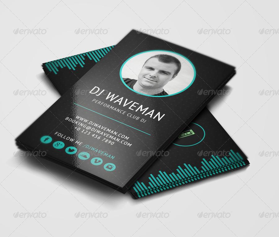 WAVE - DJ Business Card Template by vinyljunkie GraphicRiver