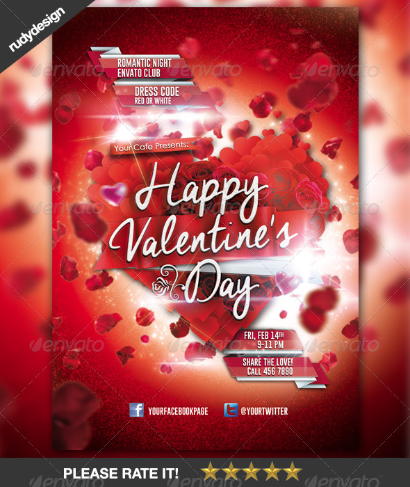 Happy Valentine Day Flyer Template Design by rudydesign GraphicRiver