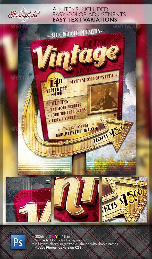Retro Vintage Sign Event Flyer Template by getstronghold GraphicRiver - retro flyer template