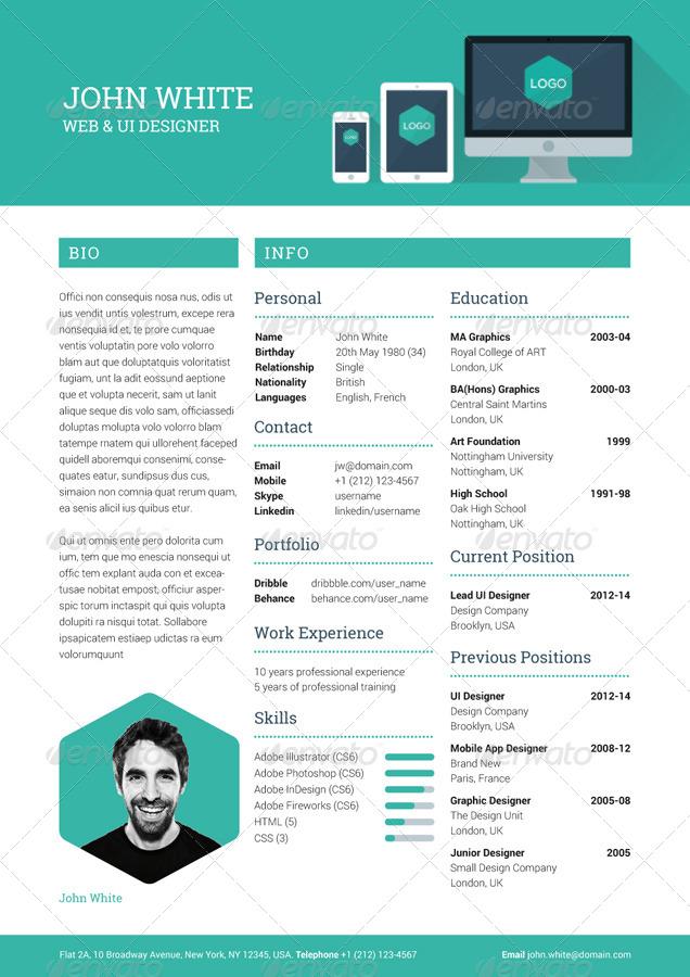 Creative Resume CV by ikonome GraphicRiver - creative resume