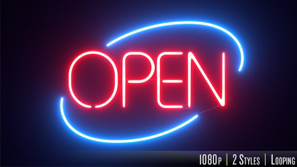 3d Digital Clock Wallpaper Round Neon Open Sign By Butlerm Videohive