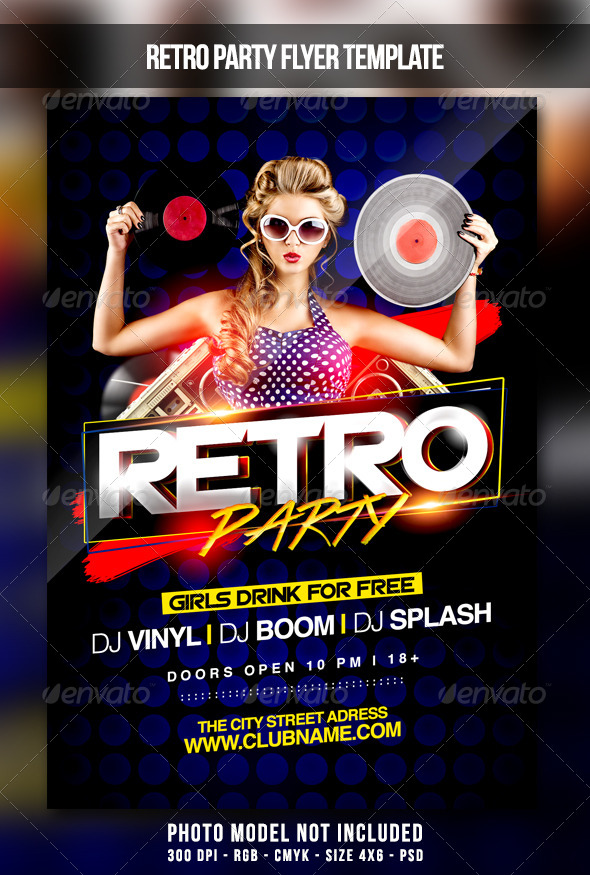 Retro Party Flyer by MaksN GraphicRiver - retro flyer template