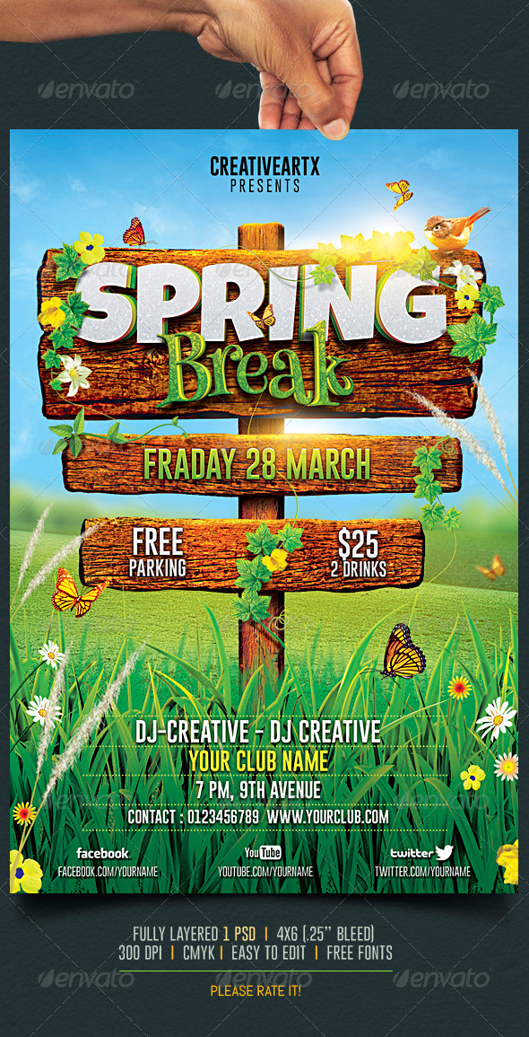 Spring Break / Summer Party Flyer by creativeartx GraphicRiver - spring flyer template