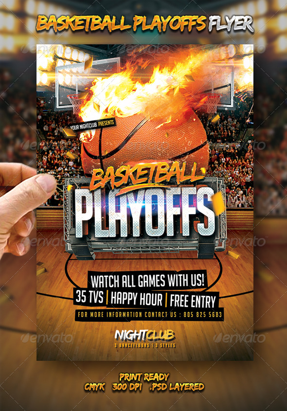 Basketball Playoffs Flyer by larajtwyss GraphicRiver - basketball flyer example
