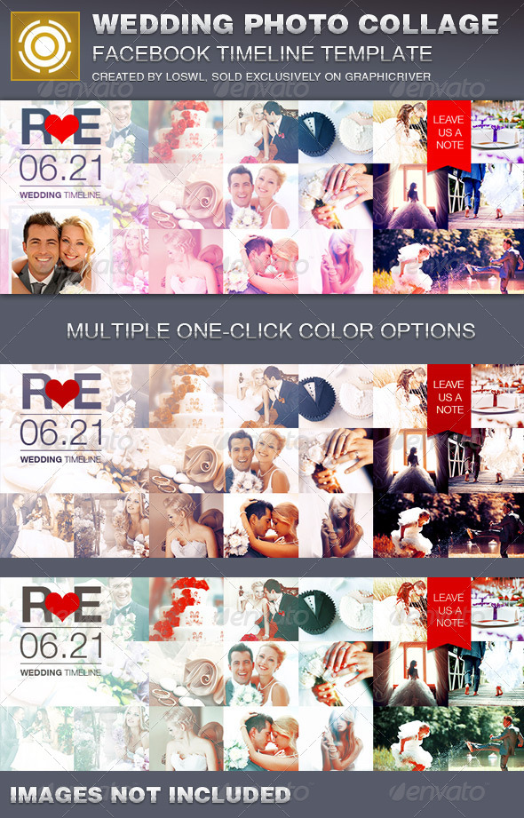 Wedding Photo Collage Facebook Timeline Cover by loswl GraphicRiver - facebook collage template