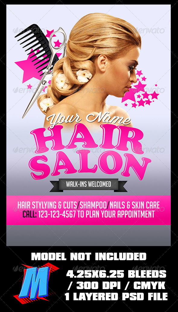 Hair Salon Flyer Template by MegaKidGFX GraphicRiver - hair salon flyer template