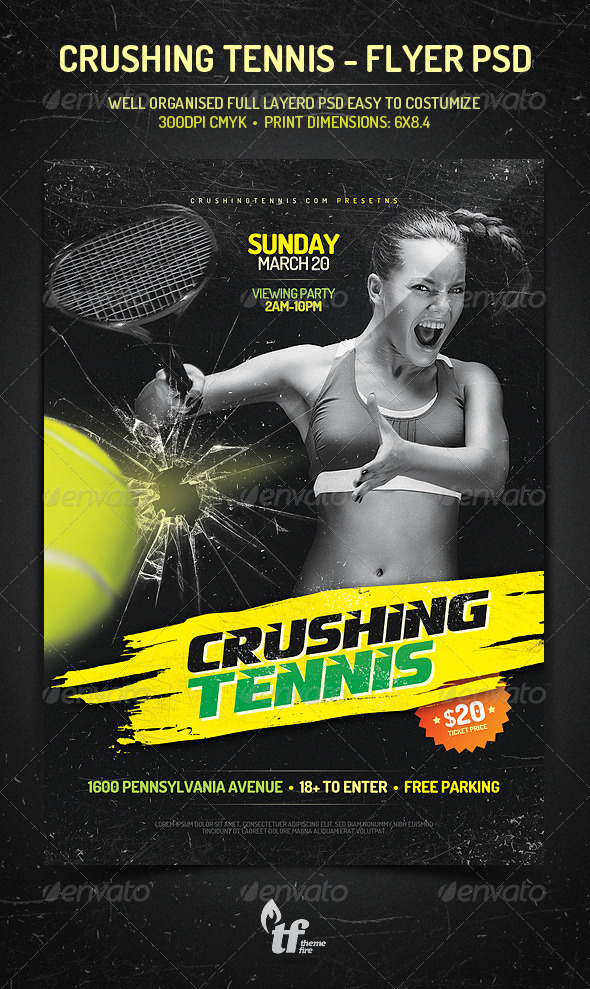 Tennis Flyer Graphics, Designs  Templates from GraphicRiver