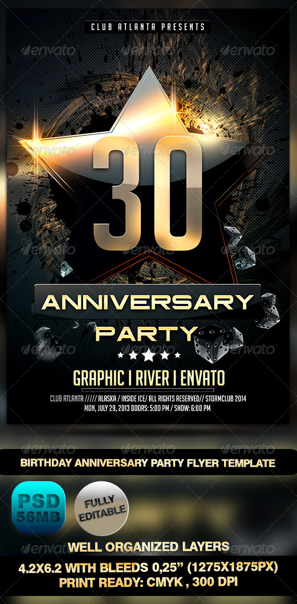 Birthday Anniversary Party Flyer Template by Stormclub GraphicRiver