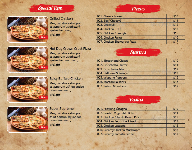 Pizza Menu and Flyer Indesign Template Pack by azadcsstune - Sample Pizza Menu Template