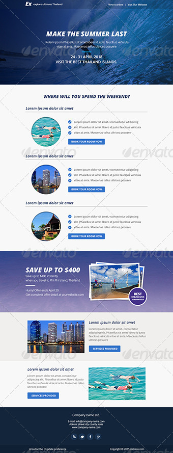 Explore - Travel PSD Email Newsletter Template by Smythemes