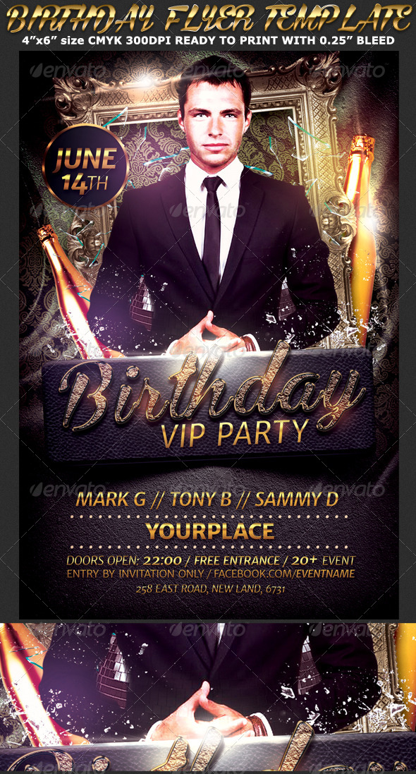 Birthday/Bachelor Party Flyer Template by Hotpin GraphicRiver