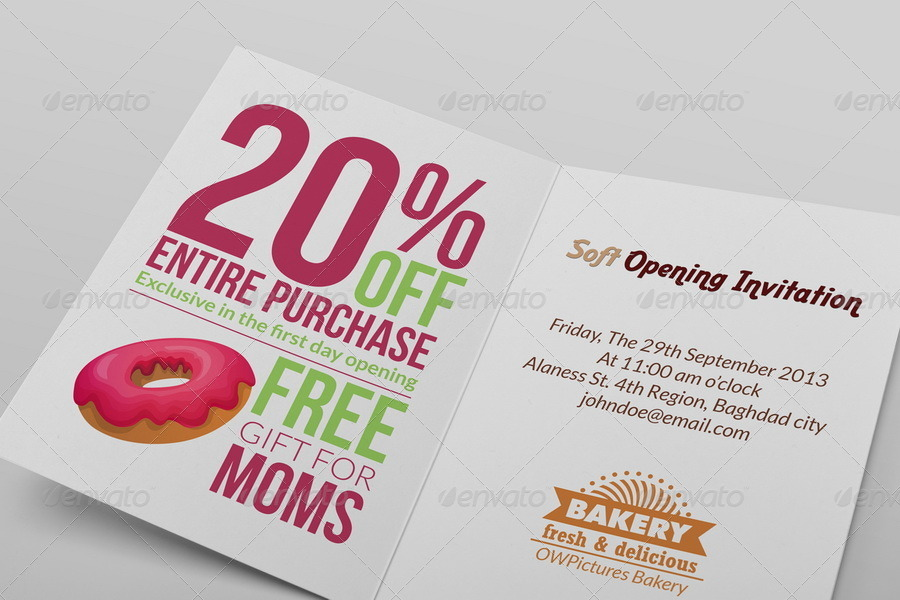 Bakery Soft Opening Invitation Card Template By Owpictures