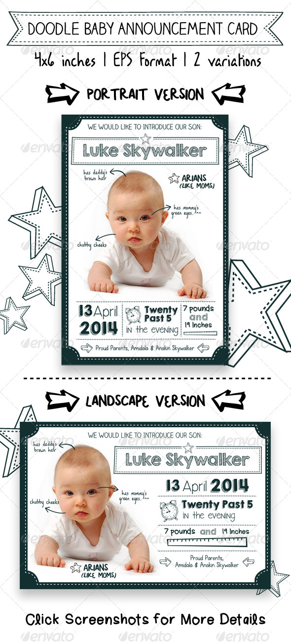 Doodle Baby Announcement Card by apriliapratama GraphicRiver