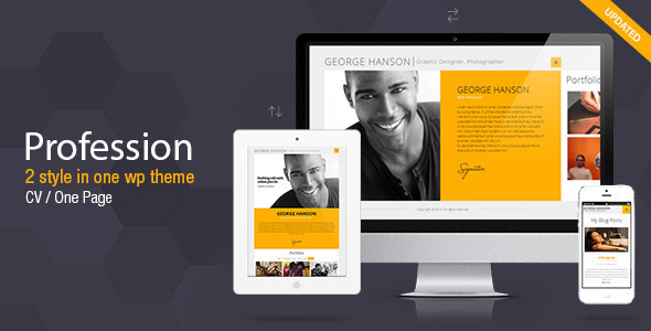 Profession - One Page CV Resume Theme by Pixflow ThemeForest - resume wordpress theme