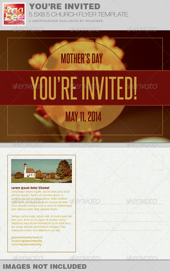 You\u0027re Invited Church Flyer Invite Template by Rockibee GraphicRiver - invitation flyer template