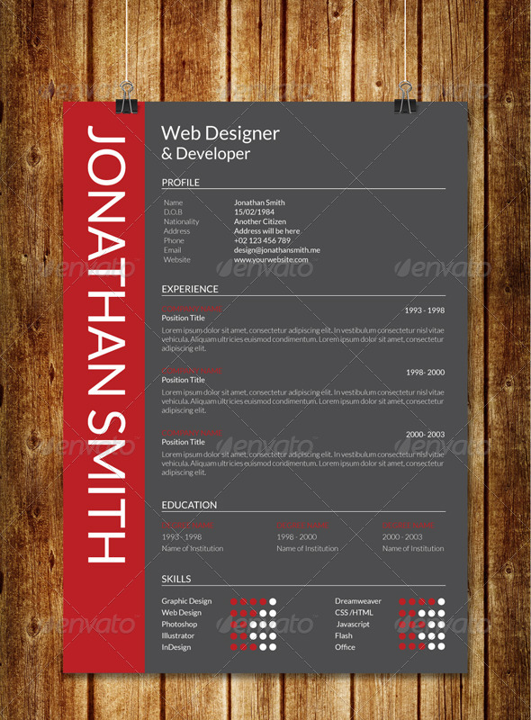 Modern Resume V1 by sawonahmed GraphicRiver - Modern Resume Styles