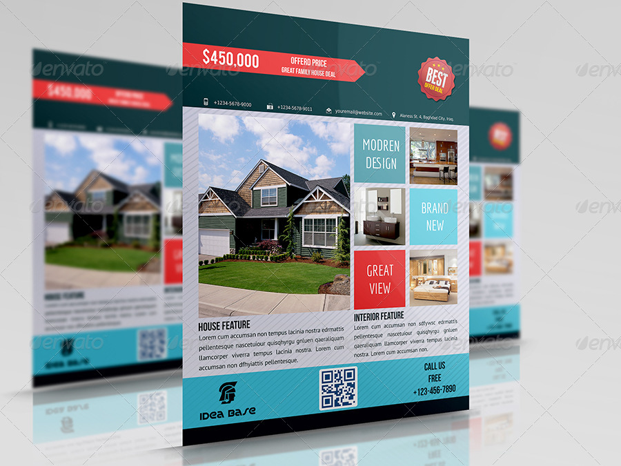 Real Estate Flyer Bundle Template Vol1 by OWPictures GraphicRiver - land for sale flyer