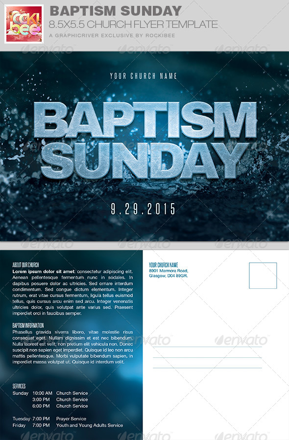Baptism Sunday Church Flyer Invite Template by Rockibee GraphicRiver - invitation flyer template