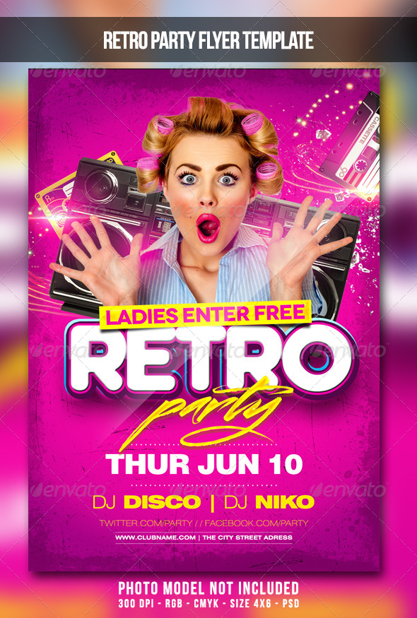Retro Party Flyer by MaksN GraphicRiver