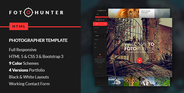 HTML5 HTML Photography Website Templates from ThemeForest