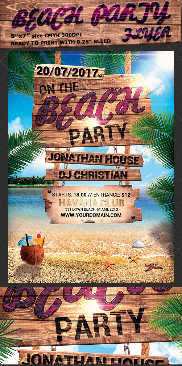 Summer Beach Party Flyer Template by Hotpin GraphicRiver
