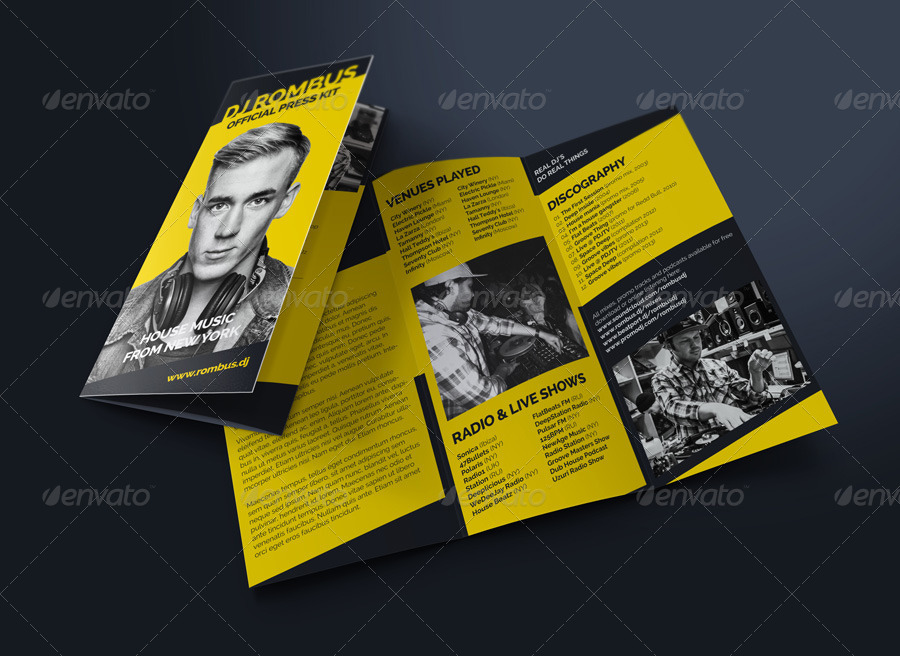 Rombus - DJ Press Kit Tri-Fold Brochure by vinyljunkie GraphicRiver - Tri Fold Resume
