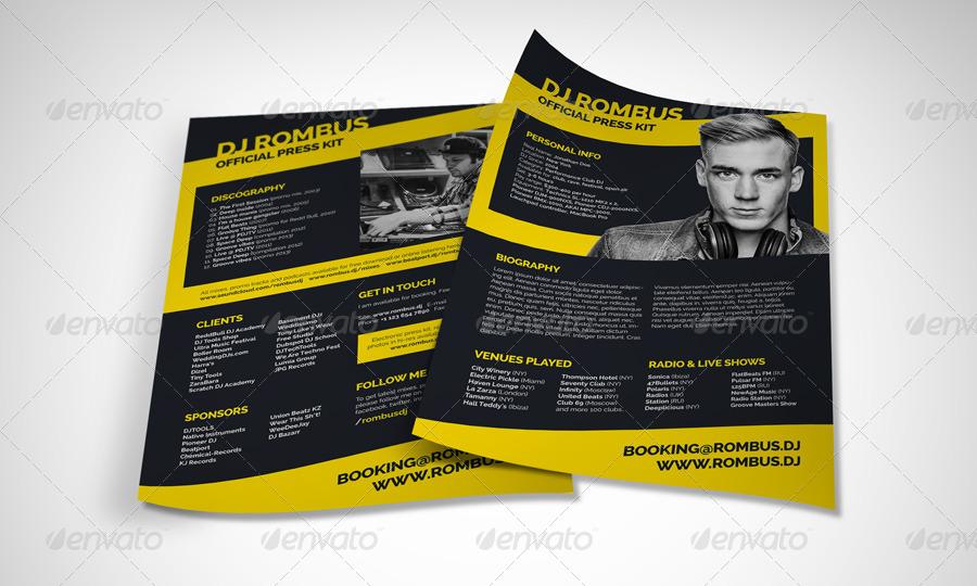 Rombus - DJ Resume / Press Kit PSD Template by vinyljunkie - dj resume
