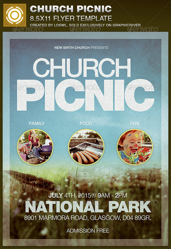 Church Picnic Flyer Template by loswl GraphicRiver - picnic flyer template