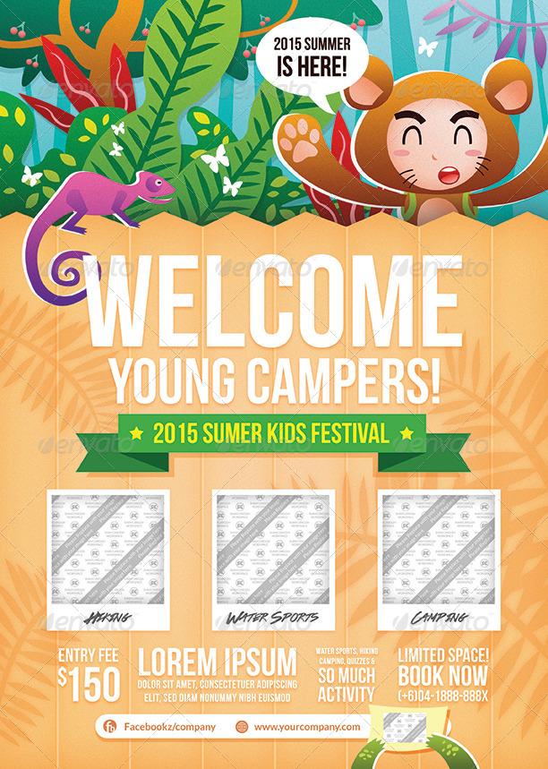 Kids Summer Camp Flyer by shamcanggih GraphicRiver - camp flyer template