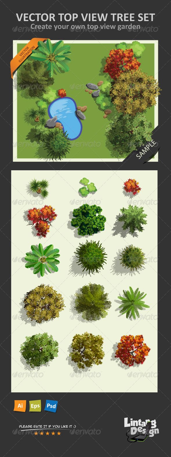 Top View Tree Set 01 By Lintangdesigns Graphicriver