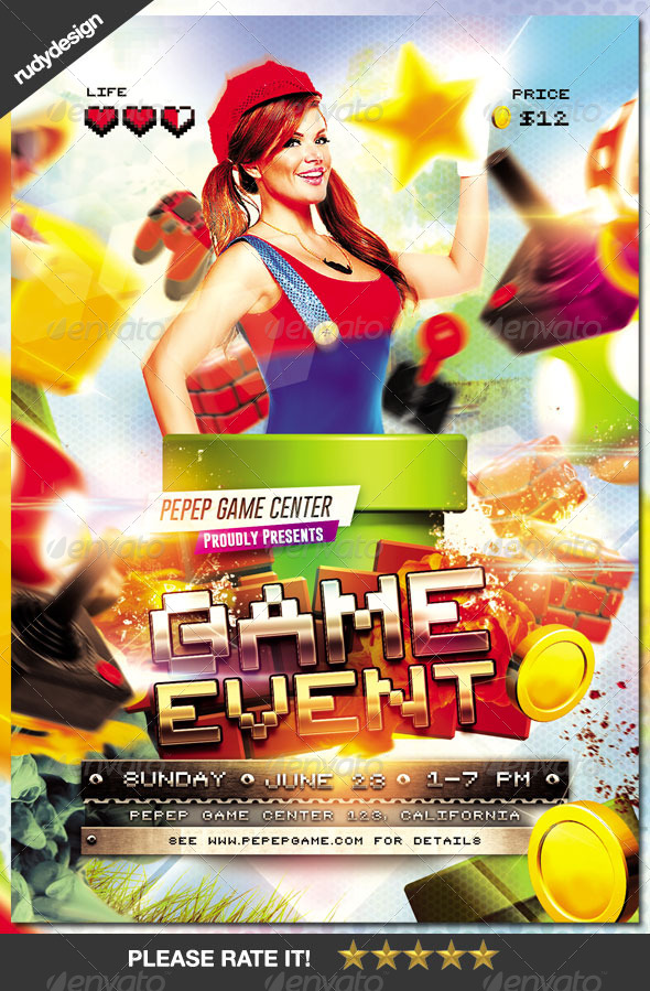 Video Games Event Flyer Design by rudydesign GraphicRiver