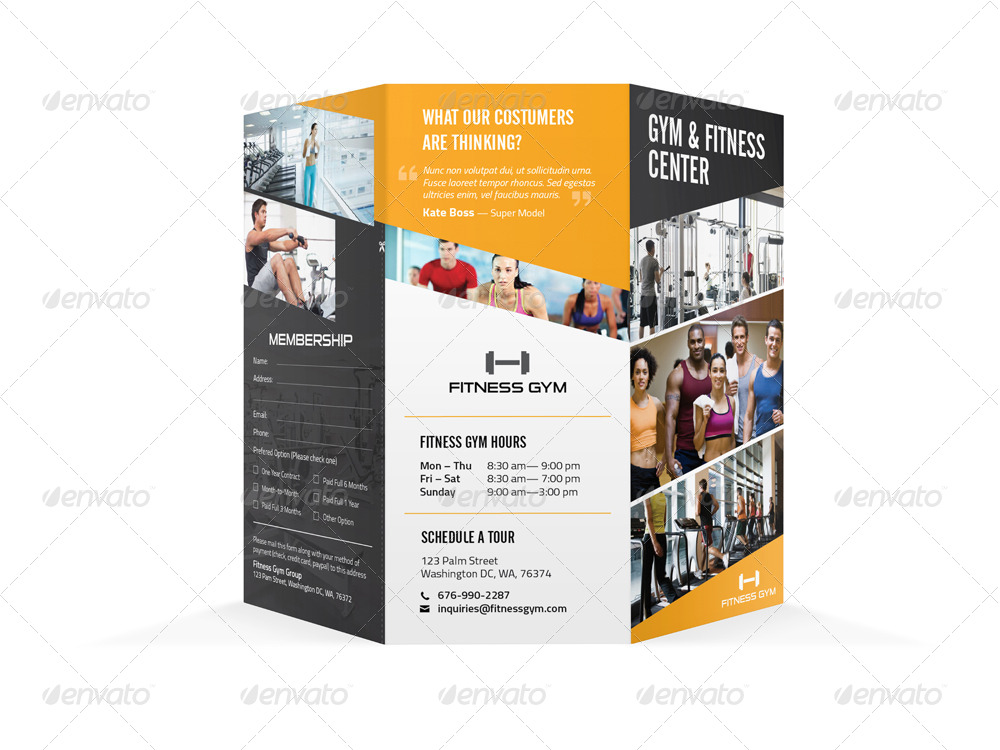 Fitness Gym Trifold Brochure by Mike_pantone GraphicRiver - Fitness Brochure