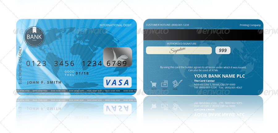 PSD Credit Card Template by pmvch GraphicRiver - printable credit card template