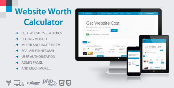 Website Worth Calculator by forza020 CodeCanyon - product pricing calculator