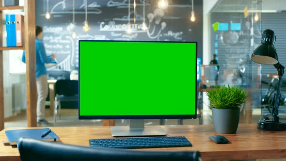 Logo Mockup After Effects Personal Computer With Mock-up Green Screen Monitor Stands