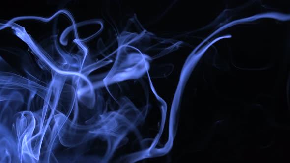 Abstract White Smoke on Black Background, Smoke Background ,Blue