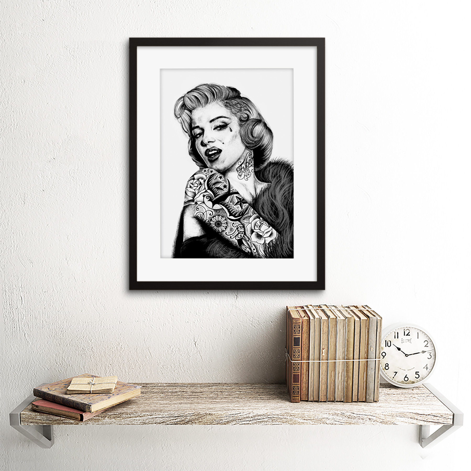 Marilyn Monroe Tattoo Inked Ikon Icon W Maguire Framed Wall Art Print 12x16 In Ebay