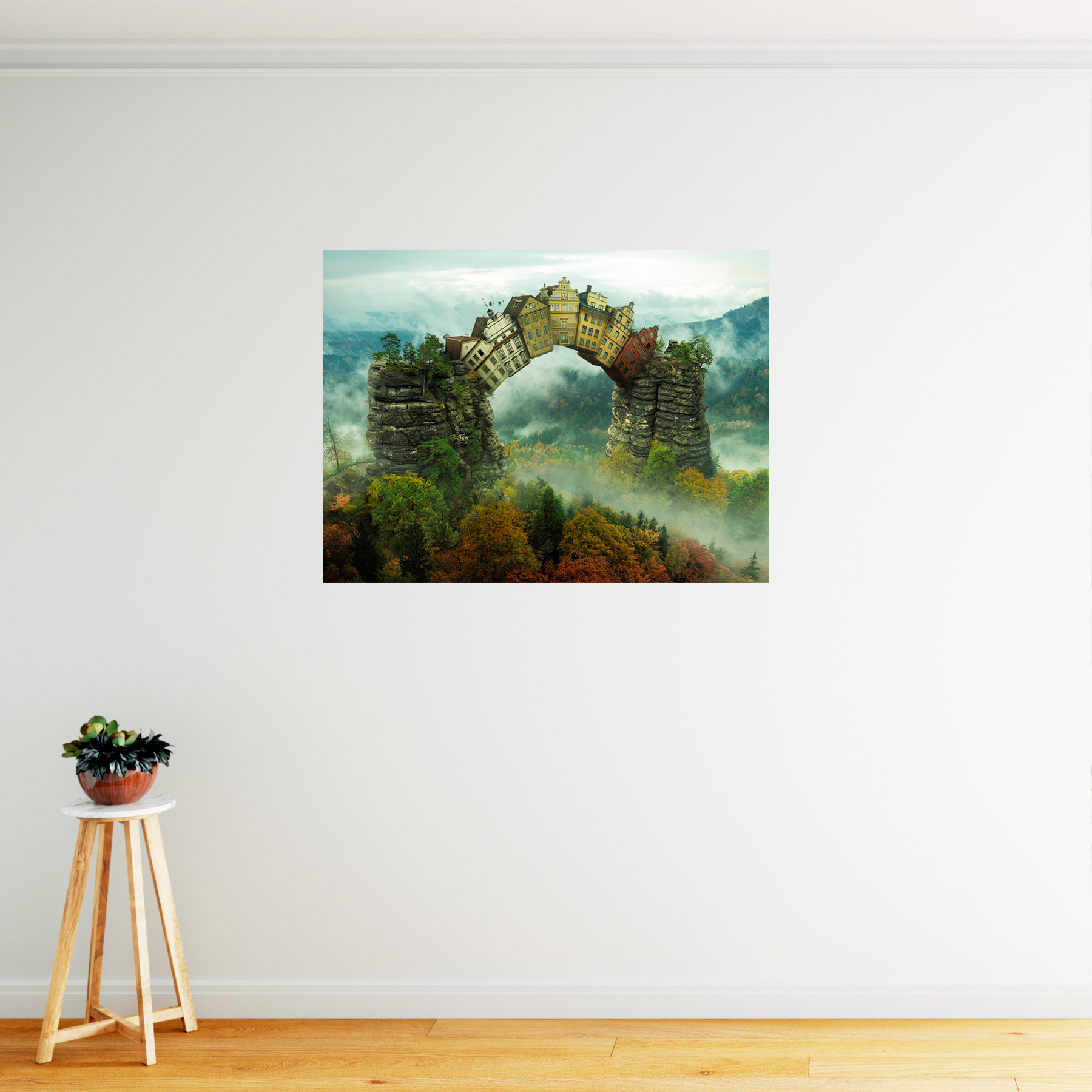 Kunstdruck Groß Details Zu Fantasy Surreal Houses Nature Trees Large Framed Art Print Poster 18x24 Inches